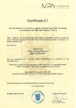 STEICO Certificate C1 for structural gluing according to Z-9.1-870